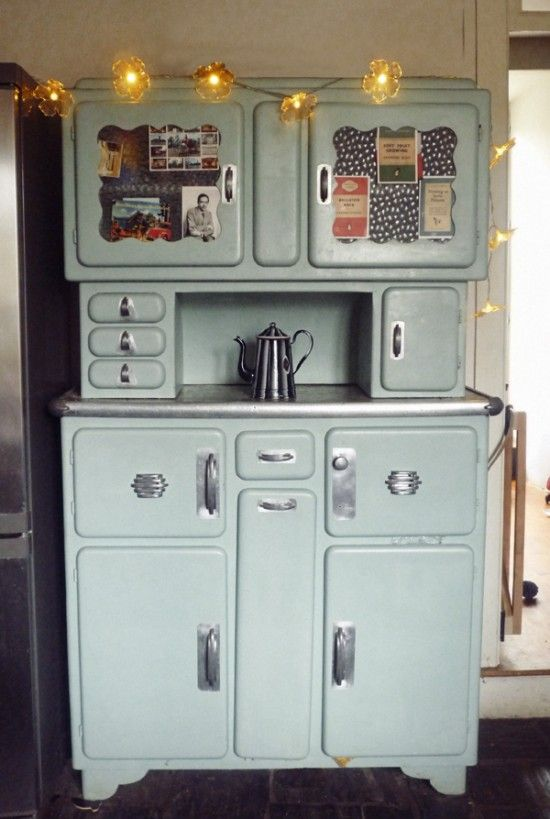 Go ahead and paint an old oak hutch a pastel color. Then make fabric-covered cork boards in cupboard door panels and tack your inspiration, your love, your life.