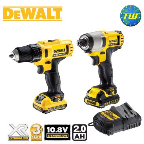 http://www.twwholesale.co.uk/product.php/section/10416/sn/DeWalt-DCK211D2T-GB The DeWalt DCK211D2T 10.8V Twinpack contains the DCD710 Drill Driver and DCF815 Impact Driver. DeWalt's Drill Driver is a compact and lightweight cordless tool that has 15x adjustable torque control settings to suit different screw sizes / types in order to efficiently drive them into various materials.