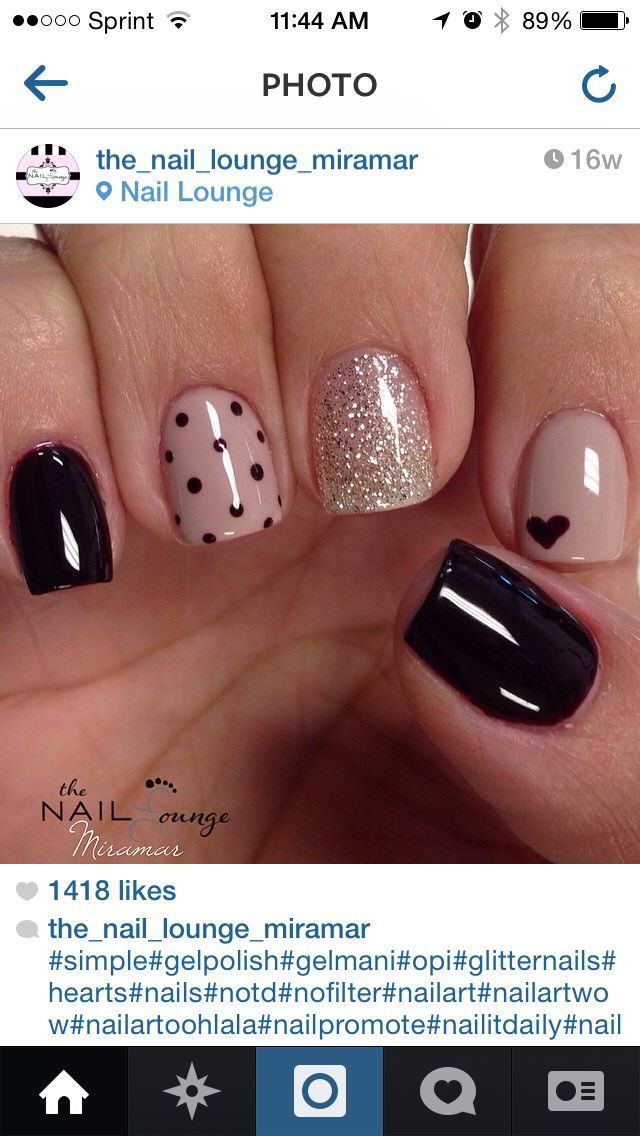 Nude and black nail art