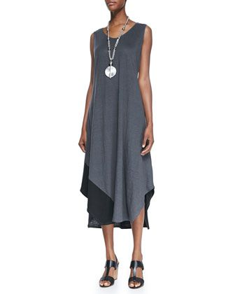 Sleeveless+Colorblock+V-Neck+Jersey+Dress+by+Eileen+Fisher+at+Neiman+Marcus.