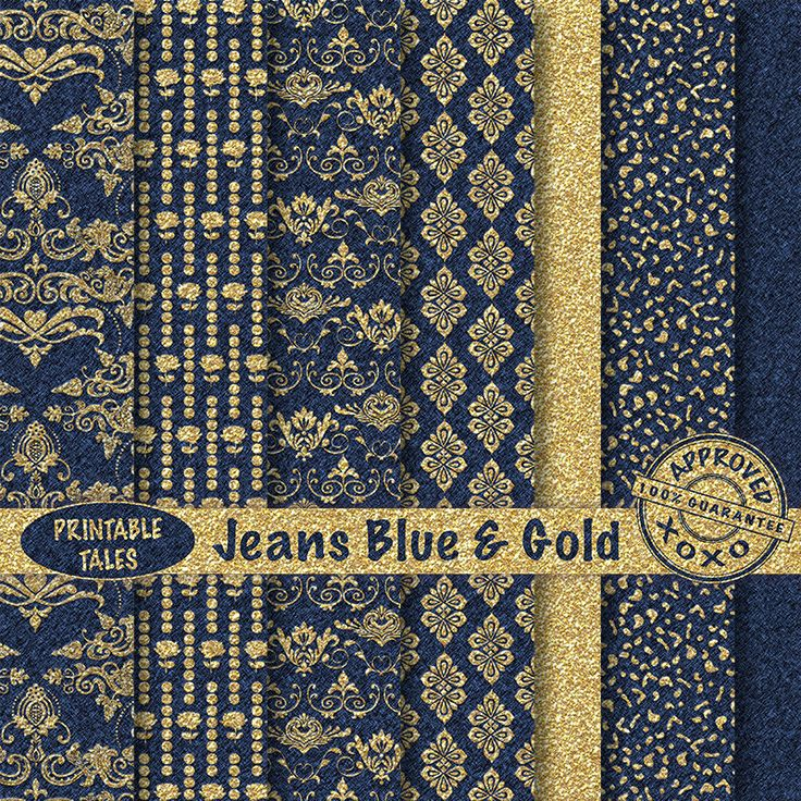 Gold & Jeans Blue Damask digital paper pack Lovely Patterns Damask Roses Doves Grapes Jeans Texture Personal + UNLIMITED Commercial use! by PrintableTales on Etsy https://www.etsy.com/listing/237198465/gold-jeans-blue-damask-digital-paper