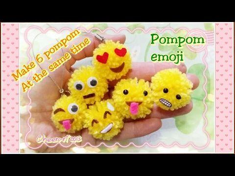 How to make 6 pompom at the same time? Pompom emoji 毛毛球-表情符號 - YouTube