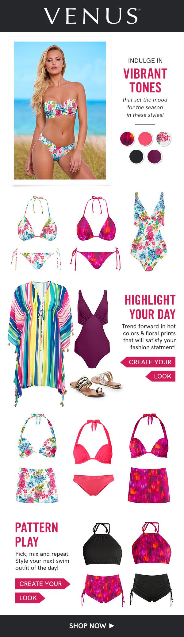Pick, mix and repeat! Style your next swim outfit of the day. #venusswimwear #swimwear