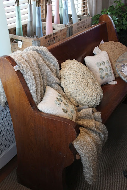 From the Bachman's 2012 Spring Ideas House...church pew bench...