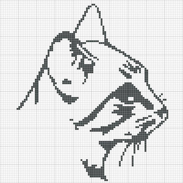 Cat  grilles point de croix: grille gratuite tête de chat