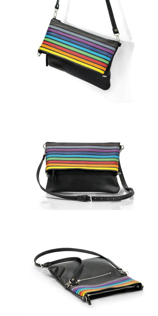 Leather Rainbow Clutch Transformer | Ladies Hand-crafted Crossbody Bag | Designed by Leonid Titow  https://www.etsy.com/ru/listing/494194591/leather-rainbow-clutch-transformer?ref=shop_home_active_1  #leather #clutch #handmadebag