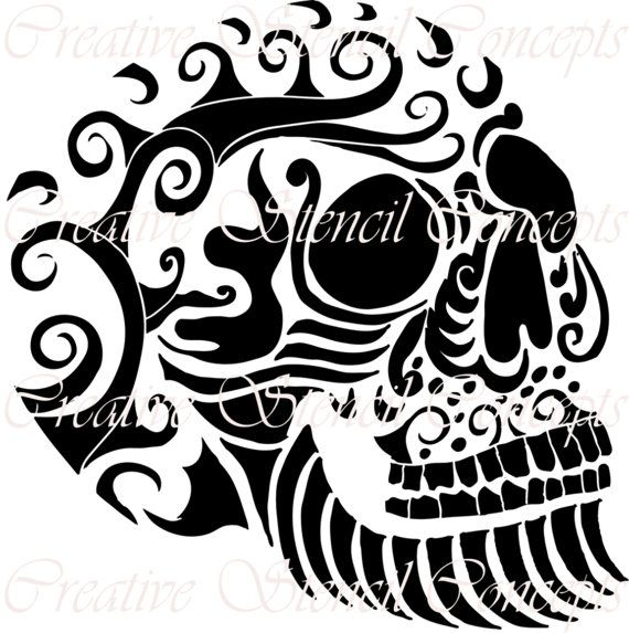 Mexican Halloween Sugar Skull Decorative Stencil MULTIPLE SIZES AVAILABLE on Industry Standard 12 Mil Mylar Design 106430456