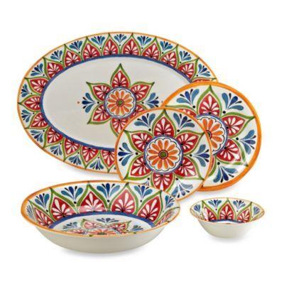 Mirasol Hand Painted Cream Round Dinnerware Collection - BedBathandBeyond.com  sc 1 st  Pinterest & 22 best Dinnerware images on Pinterest | Melamine dinnerware Dinner ...