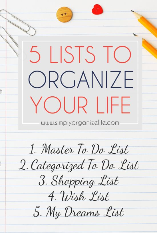 Click here to find out how 5 simple lists can make your life easier and more organized. We can all do with a bit of organization in our life, right?