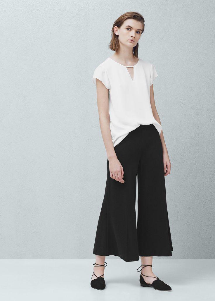 Crop παντελόνι palazzo - Παντελόνια for Γυναίκα | MANGO ΜΑΝΓΚΟ Ελλάδα