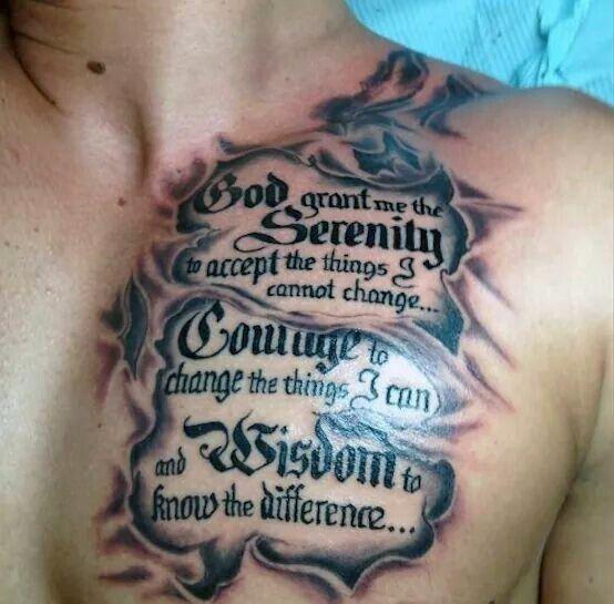 Torn Skin Serenity Prayer Male Upper Chest Tattoo