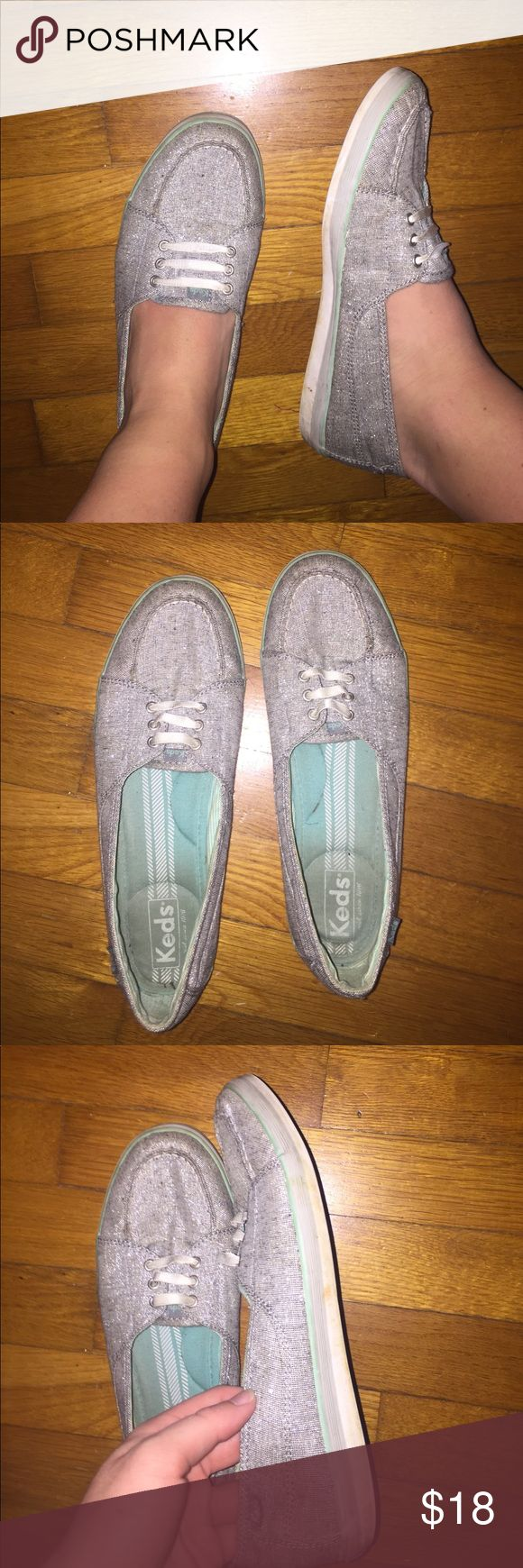 Gray Keds Slip-On Shoes Gray sparkly keds slip ons. Green memory foam on the inside. Pretty gently used, in good condition. Feel free to ask questions. Keds Shoes Flats & Loafers