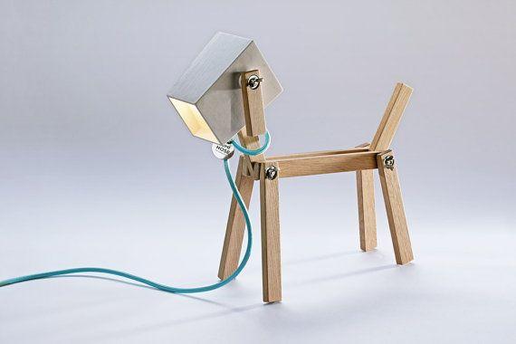 Lampe de chien - lampe de table en bois de conception fine - era - la belle lampe