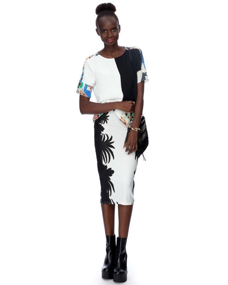 Puff Print Floral Pencil Skirt by River Island | THE ICONIC