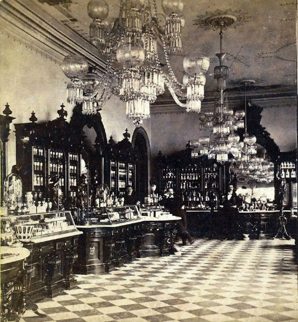 Circa 1880.  Interior of Helmbold's Drug Store, New York City Nothing to do with clothes just love the interior!!