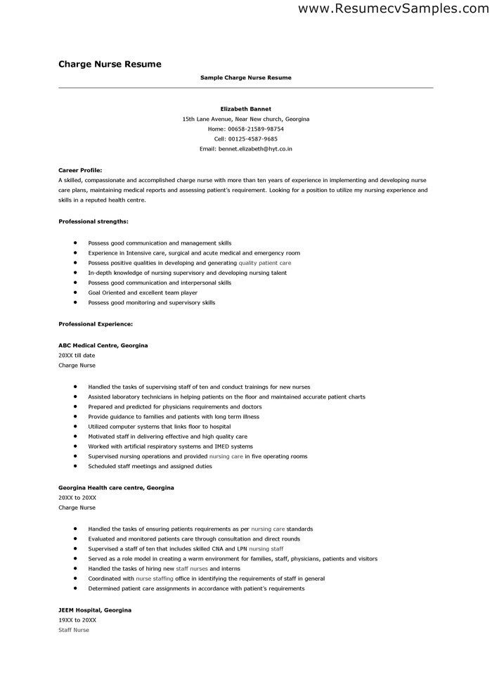 Charge Nurse Resume Sample | Sample Resume And Free Resume Templates
