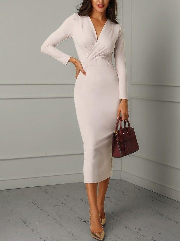 Abito aderente a maniche lunghe avvolto increspato #eveningwear #ideas #damesmode #moda #j …
