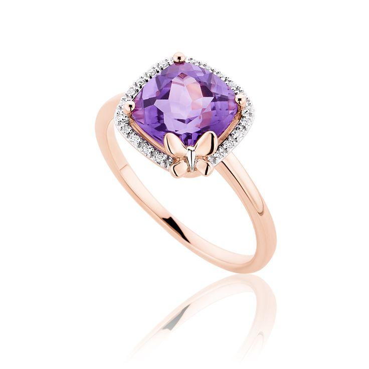 Δαχτυλίδι Diamonds Collection από ρoζ χρυσό 18K με μπριγιάν 0.05ct και αμέθυστο 1.91ct