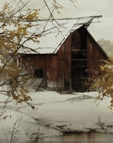 "Barn at Ponds Edge by Joseph Alleman Watercolor ~ 9.5"" x 7.5"""