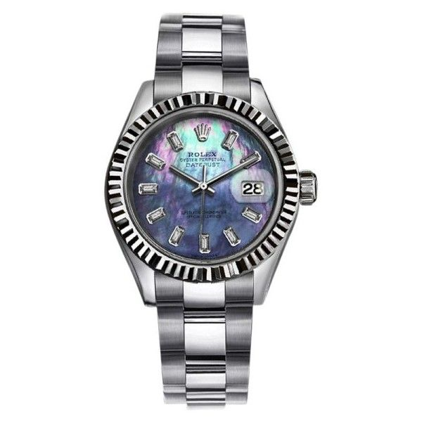 Pre-owned Rolex Datejust Stainless Steel & Deep Sea Blue Dial 31mm... (7 560 AUD) ❤ liked on Polyvore featuring jewelry, watches, 18k watches, stainless steel jewelry, stainless steel watches, blue jewellery and blue jewelry