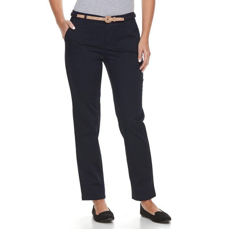 Petite Croft & Barrow® Tapered Chino Pants, Women's, Size: 8P - Short, Blue (Navy)