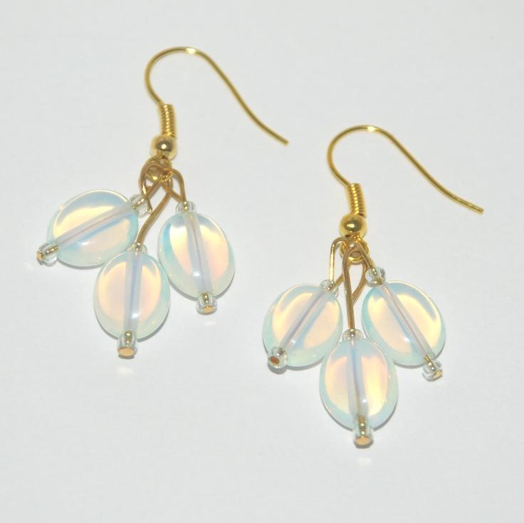 Glass moonstone earrings on gold plate wires.  Tiaraboomdeaye