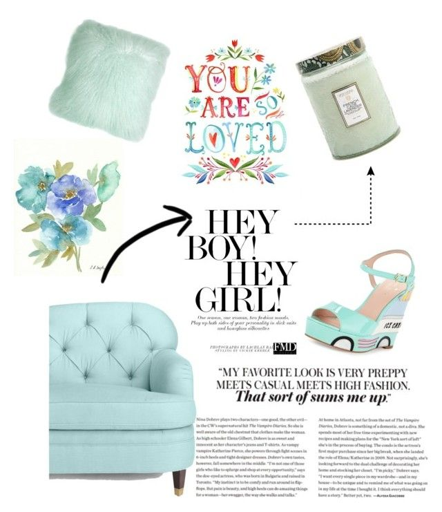 """mint"" by veronika-grabanova on Polyvore featuring interior, interiors, interior design, home, home decor, interior decorating, Kate Spade, Pillow Decor and Voluspa"