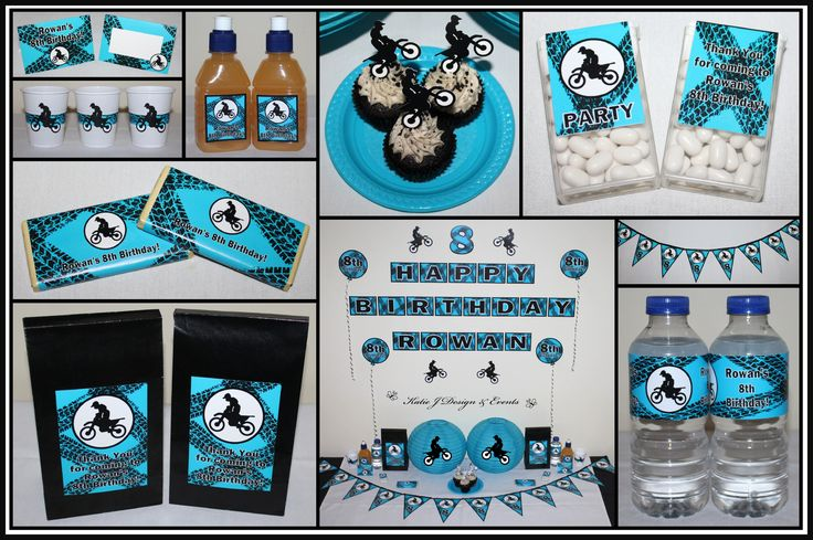 BMX Motorbike Motor Dirt Bike Personalised Birthday Party Decorations Supplies Packs Shop Online Australia Banners Bunting Wall Display Cupcake Toppers Chocolate Wrappers Juice Water Pop Top Labels Posters Lanterns Invites Cup Stickers Ideas Inspiration Cake Table Katie J Design and Events