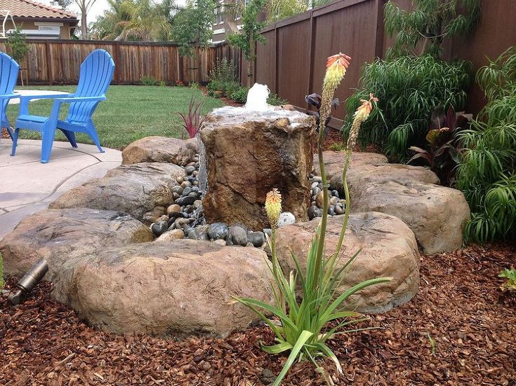 #Backyard Waterfalls NH Small Pond Less Water Feature Flowing Into A Bed