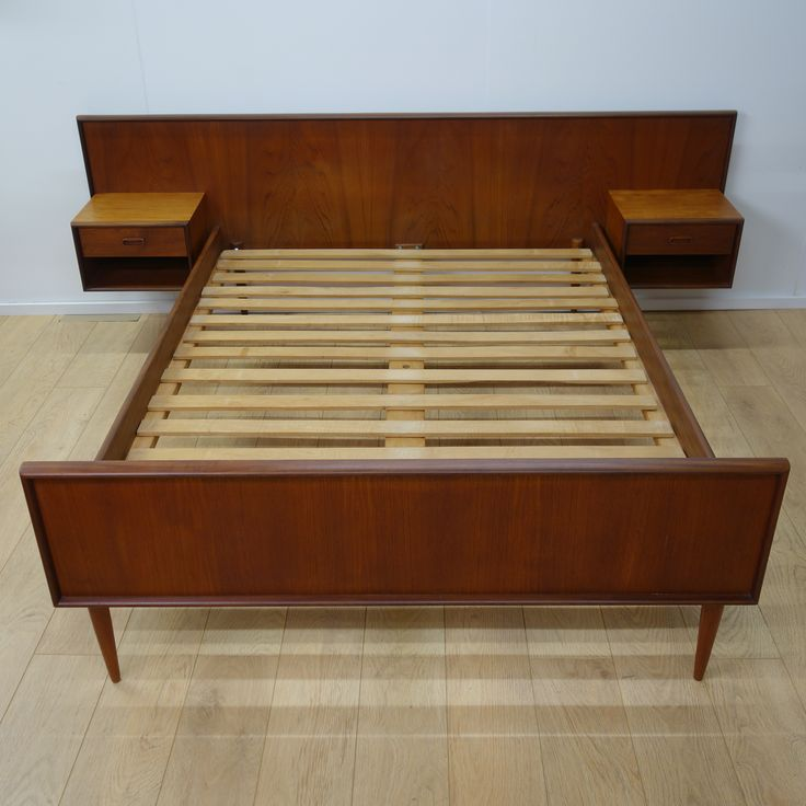 buy retro danish teak double bed from mark parrish mid century modern furniture midcentury design built in night stands