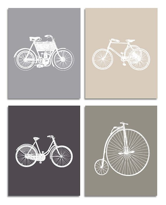 "Vintage Bicycle Art Prints - Kids, Baby, Nursery Wall Deco - Set of 4 8""x10"" Print"