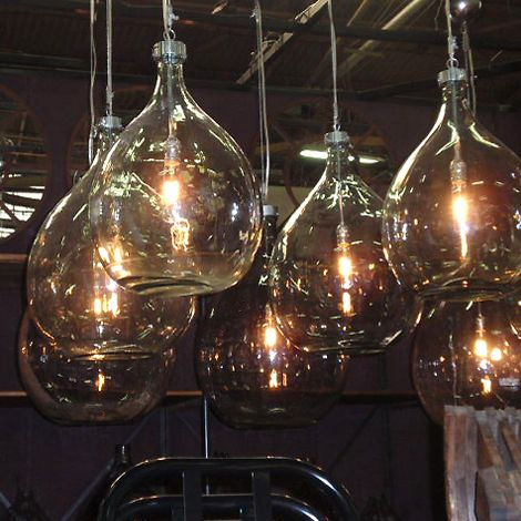 Industrial Bottle Lights made with hand blown glass at HudsonGoods.com.