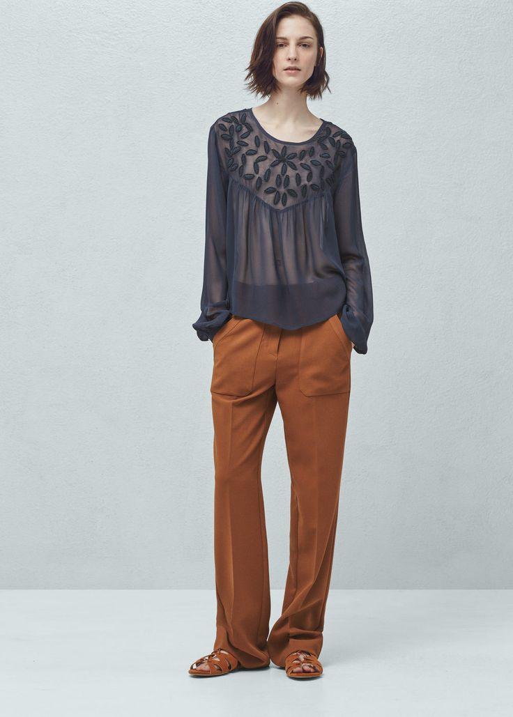 Szyfonowa bluzka z koralikami | MANGO