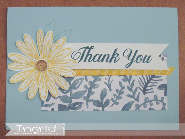 Delightful Daisy, Stampin' Up!, ingridcardsandmore, Punch, Daisies, Thank You, Daffodil Delight, Double Stitched Ribbon, Pool Party