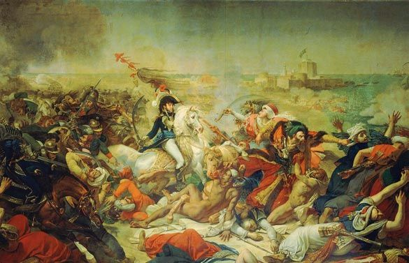 Gioacchino Murat carica alla testa dei cavalleggeri nella battaglia terrestre di Aboukir contro i turchi (25 luglio 1799) durante la campagna di Napoleone in Egitto (il dipinto di Antoine-Jean Gros risale al 1805)