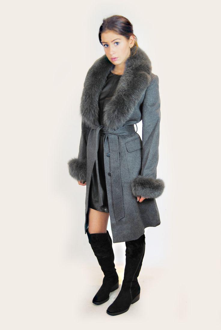 JESSIMARA GREY LONG WOOL & BLUE FOX COAT