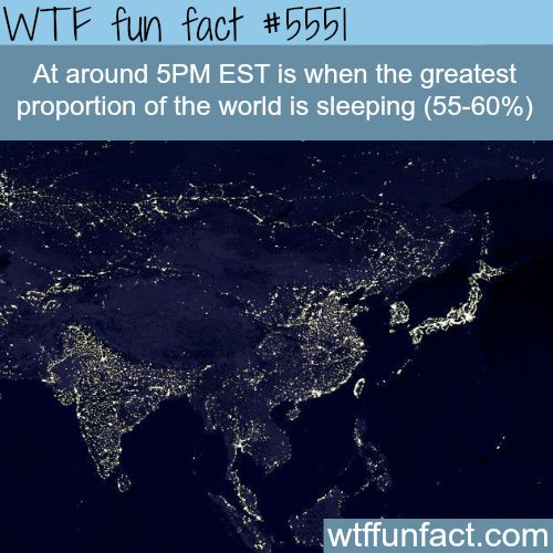 : The time when most of the worlds population are sleeping - WTF...   March 30 2016 at 10:08AM   http://www.letstfact.com