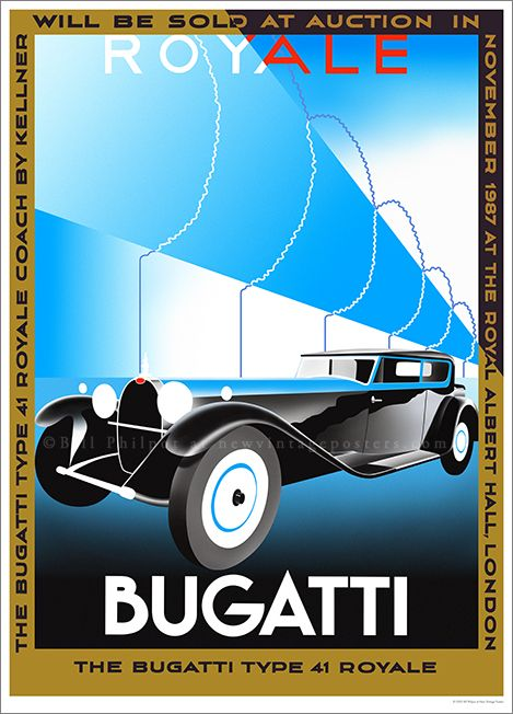 Art Deco Bugatti Royale poster by Bill Philpot at newvintageposters.com
