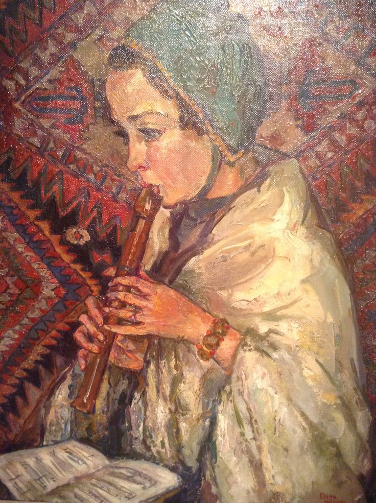 Edith Pijpers (1886-1963), Meisje met blokfluit, 1925, olieverf op doek, collectie Museum Flehite, Amersfoort  detail