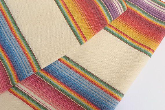 Tissu mexicain - tissés à la main 100 % coton - tissu arc-en-ciel vendus à la verge