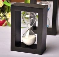 Wish | Wooden Frame Glass Hourglass Timer Creative 60 Minutes Sand Timer Clock Home Decor Birthday Gift  (Black Frame White Sand)