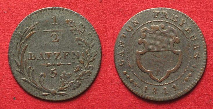 1811 Schweiz - Freiburg Swiss FREIBURG 1/2 Batzen (5 Rappen) 1811 billon VF-XF # 14289 ss-vz