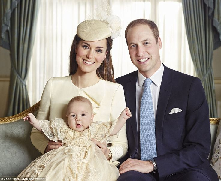 Joyful: Prince George appears happy and healthy with his mother and father, the Duke and Duchess of Cambridge
