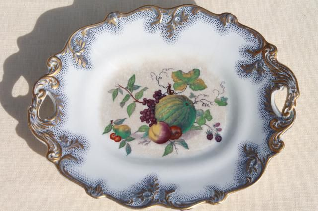 antique mid 1800s vintage flow blue polychrome transferware fruit dish, large old china bowl