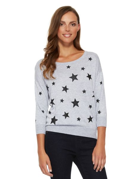 A three-quarter sleeve jumper with a star print. #NewandNow