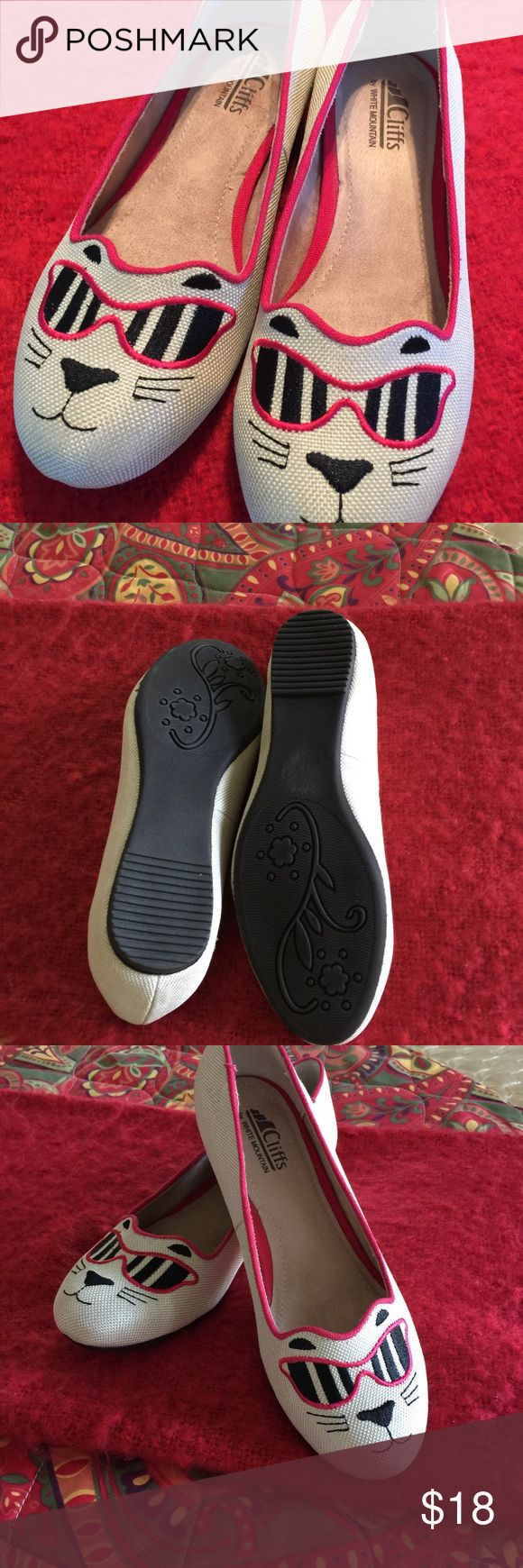 New, fun, adorable White Mountain shoes! New without tags, White Mountain flats. Come from a nonsmoking environment. Had foot surgery and can't wear these cuties! White Mountain Shoes Flats & Loafers