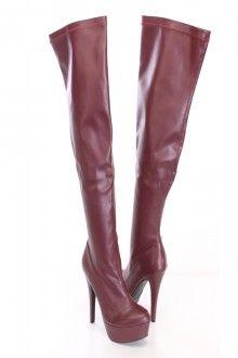Burgundy Thigh High Platform Boots Faux Leather....   www.amiclubwear.com