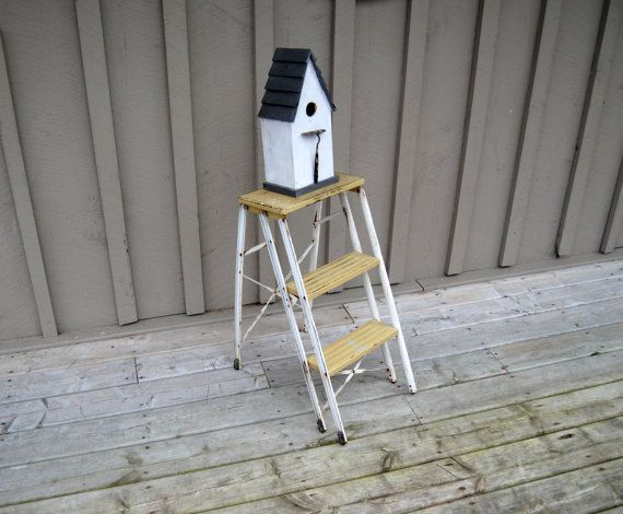 Vintage Yellow Folding Ladder: Mid Century Metal Step by Untried