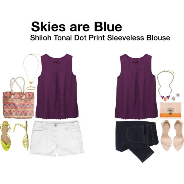 Skies are Blue - Shiloh Tonal Dot Print Sleeveless Blouse