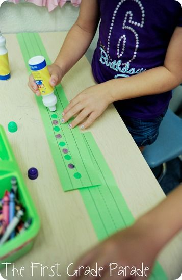 patterns on sentence strips with bingo dabbers (room to repeat)